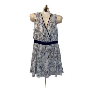41 Hawthorn white and blue faux wrap dress